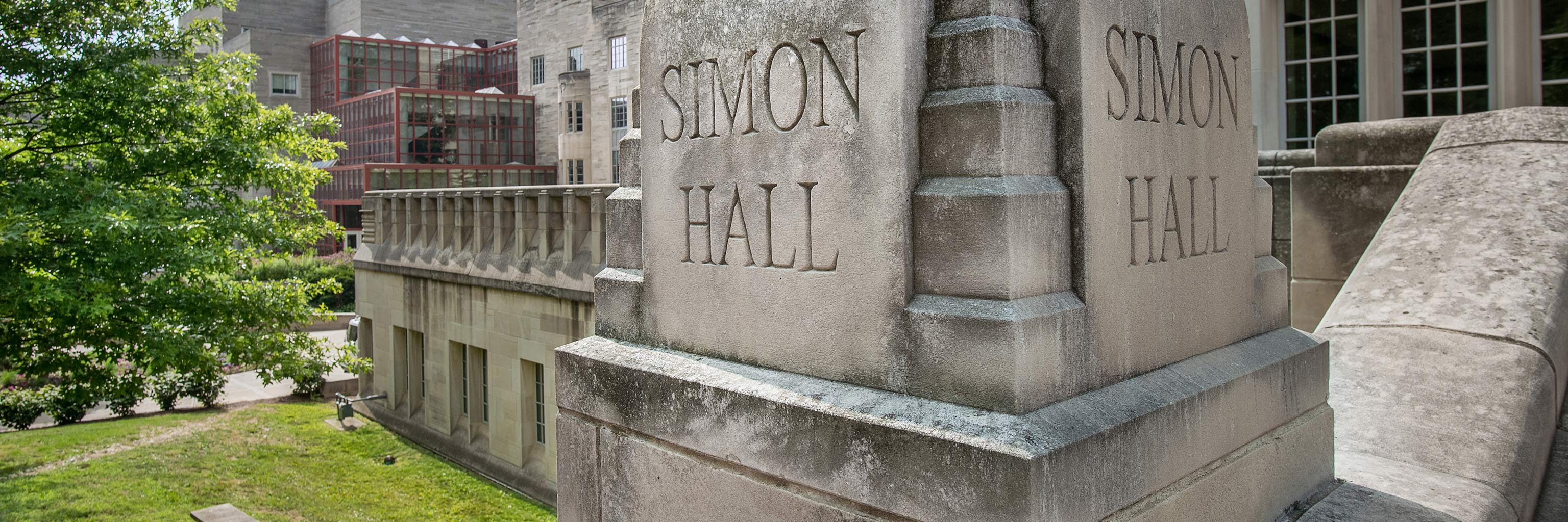 Simon Hall engraved building sign